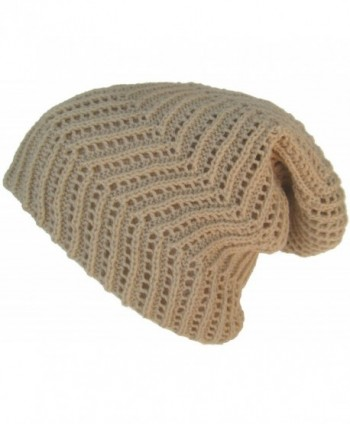 Headchange Ribbed Slouch Knit Beanie Reverse-able Oversize Cap - Cream - CL11W6GSXE3