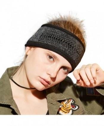 Winter Womens Knit Headband with Faux Jewels - Black - CZ187IOE4NR