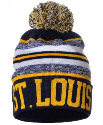 American Cities USA Fashion Block Letters Pom Pom Knit Hat Beanie - St. Louis - CD1283KBIOR