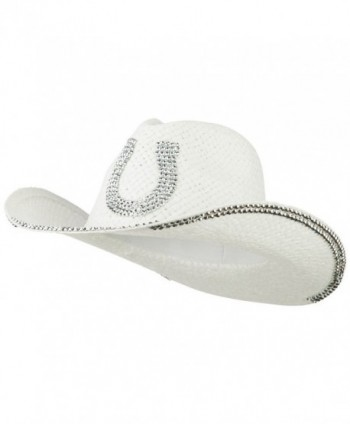 Rhinestone Horseshoe Cowboy Hat - White - C711VSWRCEX