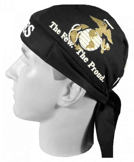 US Marines Black Globe and Anchor Head Wrap Do-rag with SWEATBAND and BCAH Bumper Sticker - CO12C1V5JTJ
