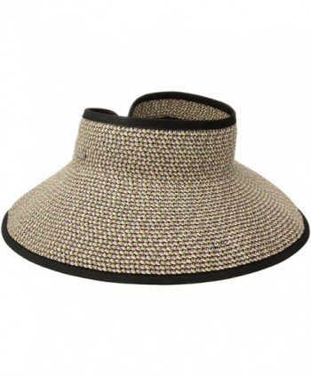 San Diego Hat Company Women's Ultrabraid Visor With Ribbon Binding- and Sweatband - Mixed Black/Bright - C812N20ANFT