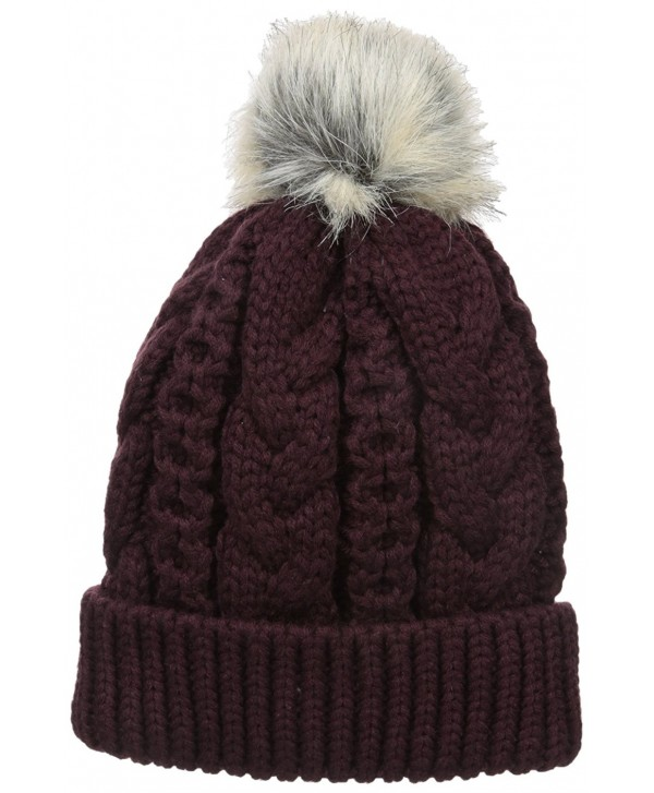 Terra Winter Pom Pom Beanie Hat | Plush Fleece Lined- Thick- Unisex | Skull Ski Cap - Dark Red - CR12N3ASZUQ