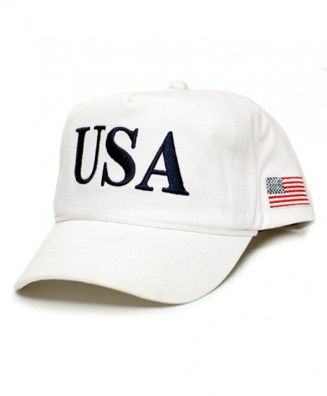 USA 45 Trump Make America Great Again Embroidered hat One Size Adult Red- White Cap - White - CQ17YYWG2O6