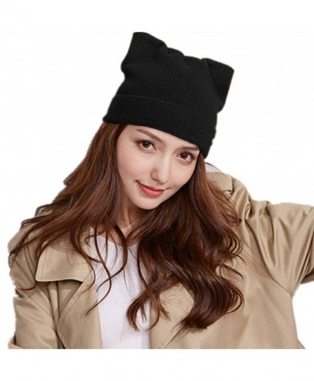 Penny's Women Cat Ear Beanie Hat Wool Braided Knit Trendy Winter Warm Cap - Dark Black - CS1895I895C