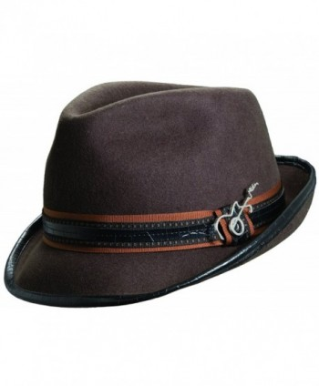 Carlos Santana Wool Felt Fedora with Guitar Pin - Meditation (SAN216)-Chocolate-S/M - CQ119H28H27