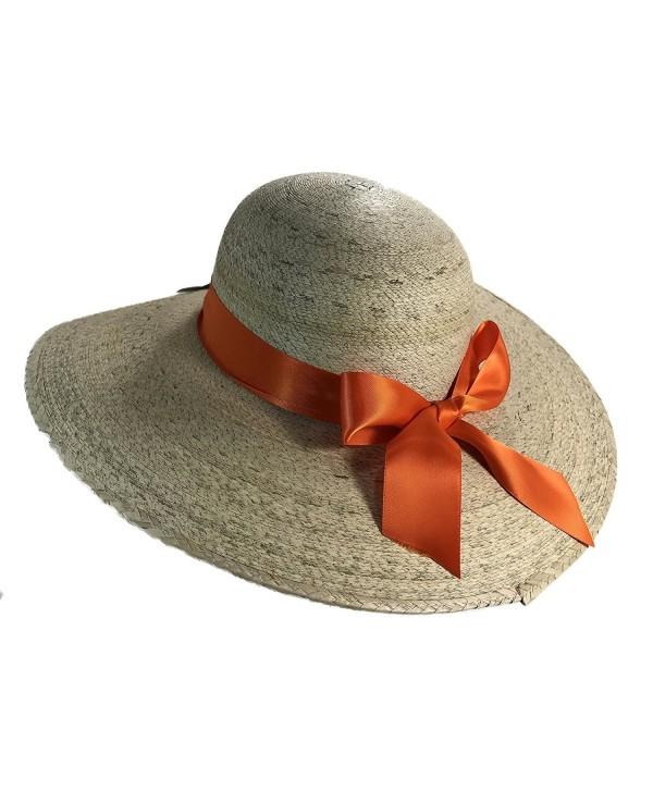 Palmoro Original Dama Lady's Moreno Palm Straw Sun Hat - Natural W/ Orange Bow - CC12NYYYGRL