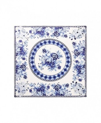 Aqueena Women's 100% Luxury Square Silk Neckerchief Digital Printing Scarf - Blue and White Porcelain - CD12IA532MZ