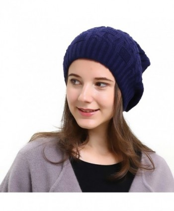 Slouchy Beanie Winter Ski Baggy Hat Double Layer Soft Oversized Cable Knit Cap - Navy - CG1867E6UKN