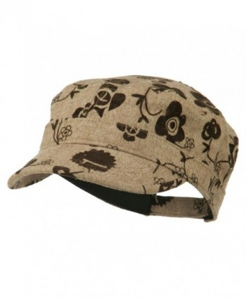 Flower Jeep Style Army Cap - Brown - CU11P5IIY2P