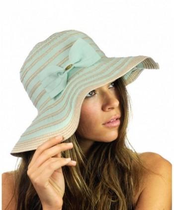 NYFASHION101 Women's Two Tone Weaved Removable Bow Floppy Brim Sun Hat - Mint - C712CU9TM13