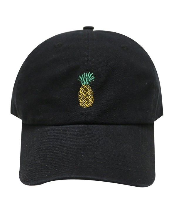 Pineapple Embroidered Dad Hat Baseball Cap For Men and Women (Black) - C412O0PGGK5