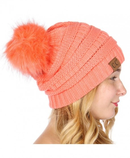 CC Solid Ribbed Beanie with Faux Fur PomPom