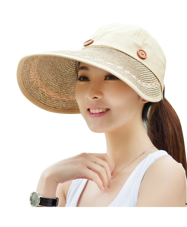 Kaisifei Women's Visor Hat With Big Brim - Wheaten - CW125Q7NG4F
