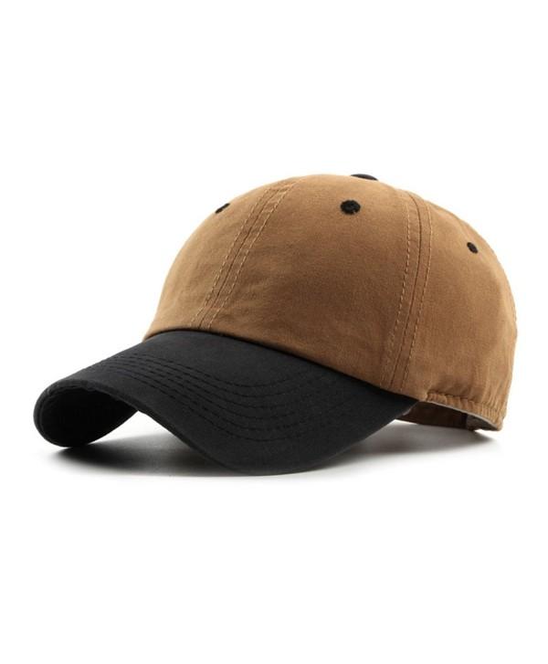 JOOWEN Unisex Classic Washed Dyed Cotton Baseball Cap Two Tone Low Profile 6 Panel Adjustable Vintage Hat - Camel - CP182IHUZ50
