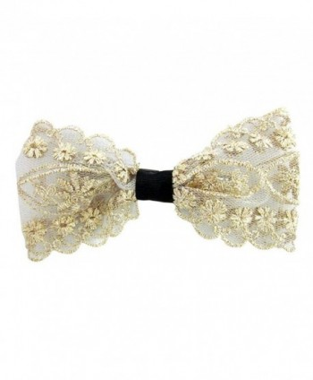 Flower Print Lace Bow Hair clip - Off White - CT11NCWU541