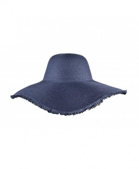 Womens Summer Floppy Hats Beach Wide Brimmed Ladies Hat Straw Sun Hats - Navy  Blue - C317XWTHUCR 4335bfa3a4d