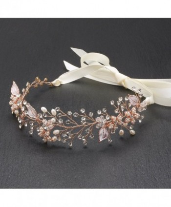 Mariell Rose Gold Freshwater Pearl and Crystal Bridal Hair Vine Ribbon Headband - C712J5BE0V1