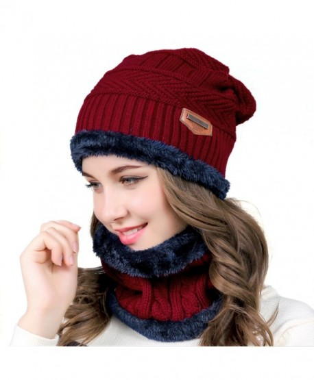 muco Womens Mens Winter Hat Warm Thick Beanie Cap Scarf For Winter Knit Ski Beanies - Red - CB186O9THDD