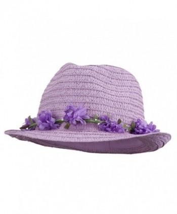 Women's Flower Lei Paper Fedora - Lavender - CC11V2VVQ6P